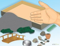 Create your own zen garden. Materials needed: shoebox lid, small stones, sand, fake or real moss and a mini rake or comb.