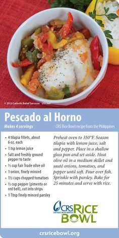 Meatless Recipes for Lent from CRS Rice Bowl. Pescado al Horno from the Philippines.