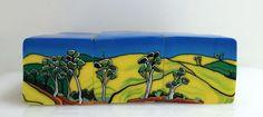 "TC39-40-41 ""Blue Skies Gum Trees and Canola Fields"" 3 cane series. Wendy Jorre de St Jorre"