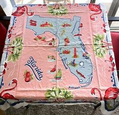 Flamingos, Palm Trees, Alligator, Sailboats, Native Flowers, Landmarks, Airplane, Fish. Map of Florida. Turquoise Blue with Pink Background. Durable Cotton Material. 1950's - Early 60's (Pre-Disneyworld). Floral Tablecloth, Vintage Tablecloths, Floral Fabric, Lace Table, Paper Tags, Vintage Cotton, Pink Stripes, Pink Purple, Blue