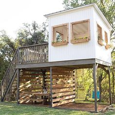 This is the CUTEST playhouse ever. Feeling a little nostalgic today. Summer is here. Remember to get outside! And enjoy time with friends and family. • #playhouse #treehouse #backyardfun #playground #swings #getoutside #playtime #design #buildsomething #modernplayhouse #horizontal #horizontalstripes #horizontalfence #porch #deck #stairporn #picnic #picnictable #picnicday #summer #designinspiration #flowers #nephews #nieces #iwantthis #outdooryoga #outdooradventures #magnoliamarket #magn...
