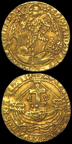 Gold Angel of King Edward IV (1471-1483) London Mint, 5.13g (S.2091, N.1626). Mint Mk: (vis. in obv. legend) heraldic cinquefoil. Obv: St. Michael spearing the dragon. Rev: Ship with E and rose beside mast.