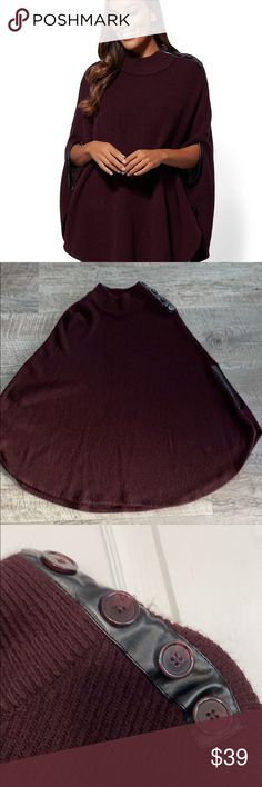 NY&CO Maroon Sweater Cape with Leather Trim - L/XL Size is L/XL.  Only worn a few times.  EUC. New York & Company Sweaters