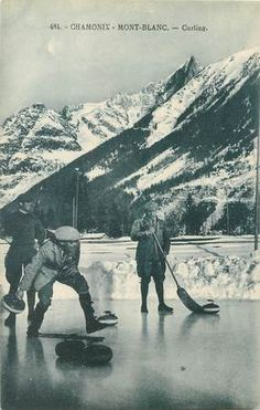 Curling in Chamonix - Haute-Savoie Vintage Ski, Vintage Posters, Evian Les Bains, Chamonix Mont Blanc, France, Curling, Vintage Images, Skiing, The Past
