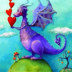 Mila Marquis Solid-Faced Canvas Print Wall Art Print entitled A Heartful Dragon Fairy Dragon, Poster Prints, Drawings, Cute Art, Fantasy Creatures, Whimsical Art, Art, Dragon Pictures, Dragon Drawing