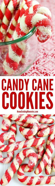 Christmas Candy Cane Cookies recipe! Made from an easy cookie dough recipe with plenty of festive peppermint flavor. The colorful dough is twisted to look like a candy cane. A favorite at holiday parties & cookie exchanges. via /HomeCookMemory/ (Holiday Baking Christmas)