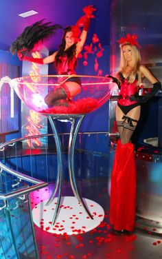 Burlesque Party Ideas | Hire Burlesque Girls in Life Size Champagne/Martini Glasses