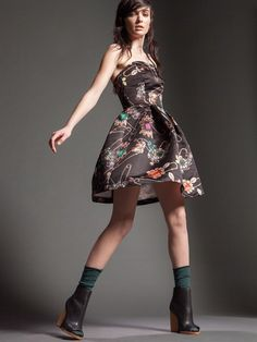Naughty Dog FW1516 printed satin dress with jewel pattern embedded with precious safety pins!