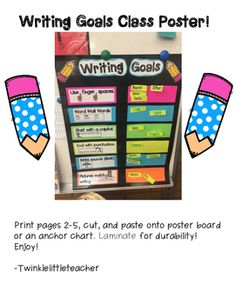 Writing Goals Poster by Twinkle Little Teacher Writing Goals Chart, Writing Ideas, Kindergarten Writing Activities, Teaching Ideas, Grade 1, Second Grade, Fall Words, Goal Charts, 1st Grade Writing