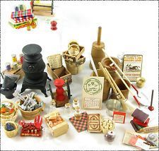 Large Lot Miniature General Store Items - Tools, Candy Jars, Scale, Paper Roller