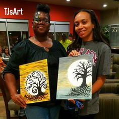 Halloween Tree acrylic canvas painting by FunnyCheeksTJ Dallas Artist and Face Painter at PaintNSip event.