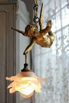 exquisite antique french spelter cherub angel chandelier roses