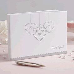 Gästebuch love struck weiß mit silbernen Herzen