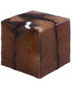Block Design Wooden Square Goat Leather Covered Stool -  The stool has a simple block design and is made of MDF (medium density fiberboard). It is covered with goat leather. The stool can be used as a footstool or as casual seating in any home.