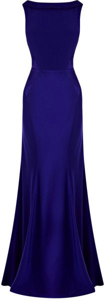Beautiful fitted dress with deep set shawl back.  Love the deep colour and gloss - would be excellent in blue or purple.