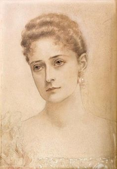 A portrait of Empress Alexandra Feodorovna of Russia was drawn by her sister, Grand Duchess Elizabeth Feodorovna in 1897. #art #Russian #history #Romanov