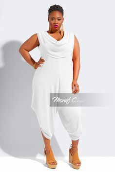 Pixie Cowl Neck Plus Size Jumpsuit - Ivory - Monif C Plus Size Clothing