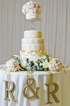 white and gold wedding monogram table idea you could have different coloured cake table
