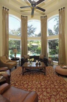 What window treatments are easiest to clean? - Check Out THE PICTURE for Lots of Ideas for Living Room Window Treatments. Tall Curtains, Curtains Living, Living Room Windows, Living Room Decor, Living Rooms, Bay Window Curtains, Roman Curtains, Patterned Curtains, Layered Curtains
