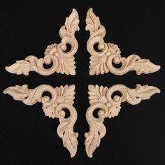 1PC Sculpture Autocollant Style Européen Coin Applique BOIS GRAVER Home Decor