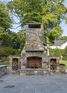 Outdoor Fireplace And Patio Ideas - Home Interior Design Ideas Outdoor Fireplace Patio, Outdoor Stone Fireplaces, Outside Fireplace, Outdoor Fireplace Designs, Fireplace Kits, Petits Cottages, Outdoor Areas, Outdoor Patios, Rustic Outdoor