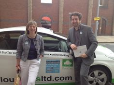 Lilian Greenwood and Tony Bates with their Cloud Car on #Nottingthamrocks day
