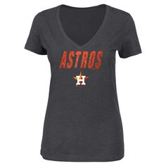 Houston Astros Women's V-Neck Heather Gray Glitter Print T-Shirt Xxl, Charcoal Heather