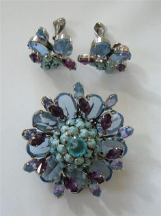 Vintage SCHREINER New York Brooch Pin Earrings Blue Purple Turquoise 3 tier RARE…