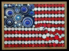 "God Bless (Patriotism Without Rigidity)  (2007-2008) by Cheri Kopp    As I reorganized my stash of caps and lids, the true blues and reds caught my eye and the flag emerged. The concentric circles for stars and the less-than-linear corner represent my desire to express my own brand of patriotism.    100% repurposed materials: plastic caps and lids, framed chalkboard. 17"" x 23"" x 2.5"""