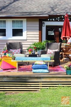 DIY Ideas for a Loud, Laid-Back Patio Makeover- dont' love the colors, but the cooler ottoman and the bench look pretty doable.