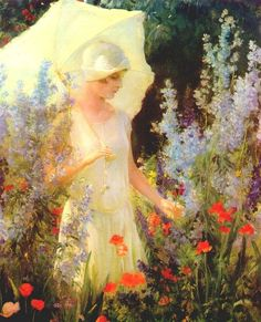 Charles Courtney Curran - Blue Delphiniums