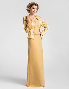 Sheath/Column Square Floor-length Chiffon And Lace Dress With A Wrap - USD $ 176.39