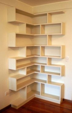 Once thought of as an organizational necessity hidden behind closed doors, shelves have come out of the closet and made a grand entry into the design Corner Furniture, Space Saving Furniture, Home Decor Furniture, Diy Home Decor, Furniture Design, Room Decor, Corner Shelf Design, Bookshelf Design, Wall Shelves Design
