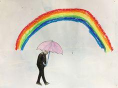 regenboog met wasco achtergrond met waterverf persoon uit tijdschrift