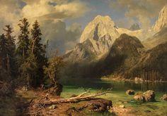 Mountain Landscape, Landscape Art, Landscape Paintings, Hudson River School Paintings, Mountain Paintings, Old Paintings, Traditional Paintings, Beautiful Places To Visit, Asian Art