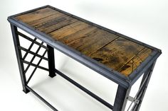 Industrial Sofa Table Reclaimed Wood by TayloredIronWorks on Etsy