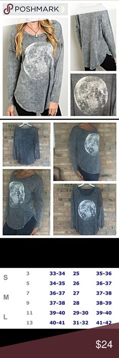 "Soft long sleeved Celestial Gray Was Tee SML Soft gray wash long sleeve celestial tee for those laid back kind of days. 100% cotton flattering flowy tapered fit. Each pattern varies slightly - New from maker without tags🌜🌙 Small bust 34-36"" Length 26"" Medium bust 36-38"" Length 27"" Large busy 38-40"" Length 28"" 🌝🌝🌝🌝🌝🌝🌝🌝🌝🌝🌝🌝🌝🌝 Tops Tees - Long Sleeve"