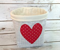 Valentines Fabric Basket  Gray with Red by littlestitchstudio1