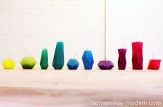 Home Made DIY Bloktagon candles with templates and instructions.