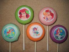 1 chocolate ariel the little mermaid edible decal oreo lollipops   sapphirechocolates - Edibles on ArtFire