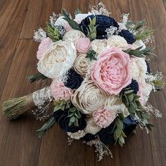 Navy, Blush, and Ivory Sola Wood Flower Bouquet with Baby's Breath and Greenery - Bridal Bridesmaid Toss - Maggieh Silk Bridal Bouquet, Blush Bouquet, Bouquet Toss, Peonies Bouquet, Blush Bridal, Bridal Bouquets, Wood Flower Bouquet, Sola Wood Flowers, Small Bouquet