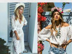 Inspirações Looks Reveillon || Boho look || white dress || transparente || blusa ciganinha || short jeans || coroa de flores || chapéu || Natasha Oakley || Rocky barnes