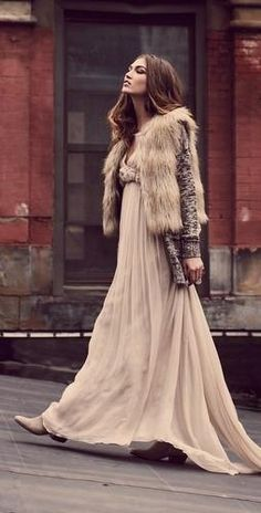 faux fur and cascading chiffon