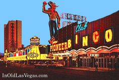Post 1964 Photo of Club Bingo and Downtown Las Vegas, showing the Golden Nugget and the new 4 Queens' Hotel Tower - LOVE FREMONT STREET!!!!!
