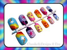 my little pony nail art rainbow dash, twilight sparkle, fluttershy, applejack, pinkie pie, and rarity
