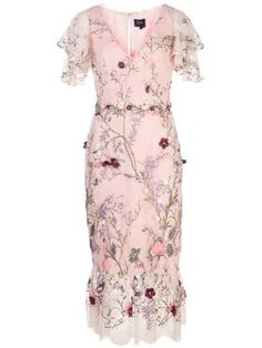 Shop online pink Marchesa Notte floral embroidered dress as well as new season, new arrivals daily. Pink Midi Dress, Tulle Dress, Dress Skirt, Lace Dress, Pink Maxi, Maxi Dresses, Pink Floral Dress, Floral Dresses, Bride Dresses