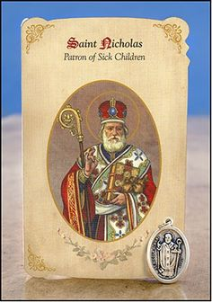 "Pray for the fast healing of sick children with this St Nicholas (Sick Children) Healing Holy Card with Medal. Each single purchase comes with one set of a full-color 2 1⁄2"" W x 4"" H (closed) holy card with two healing prayers, a saint biography and an oxidized 1""H silver patron saint medal."