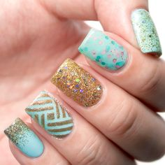 Glitter And Intricate Stripes Nail Art Design Tutorial \ Wink and Blush