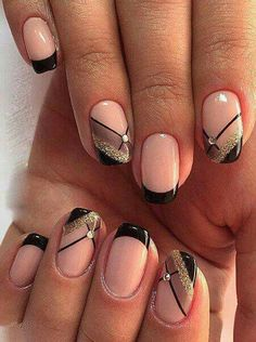 Black french tip with gold glitter and sheer black nail art