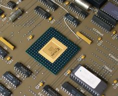 NCR Comten CPU Board 1992 Very Large Board with Beautiful Gold Ceramic Chips
